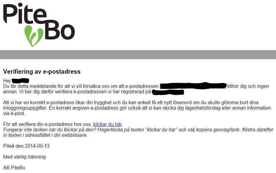 Verifieringsbrev, hemsida