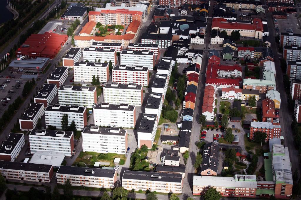 Flygfoto över Centrum området