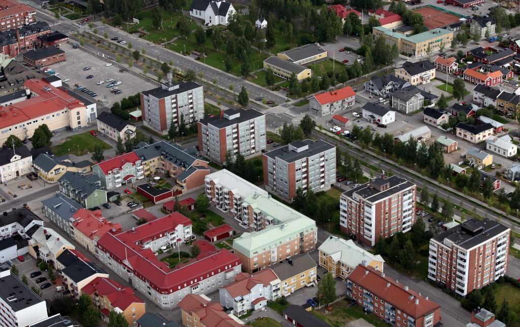 Flygfoto över Prästgårdsgatan