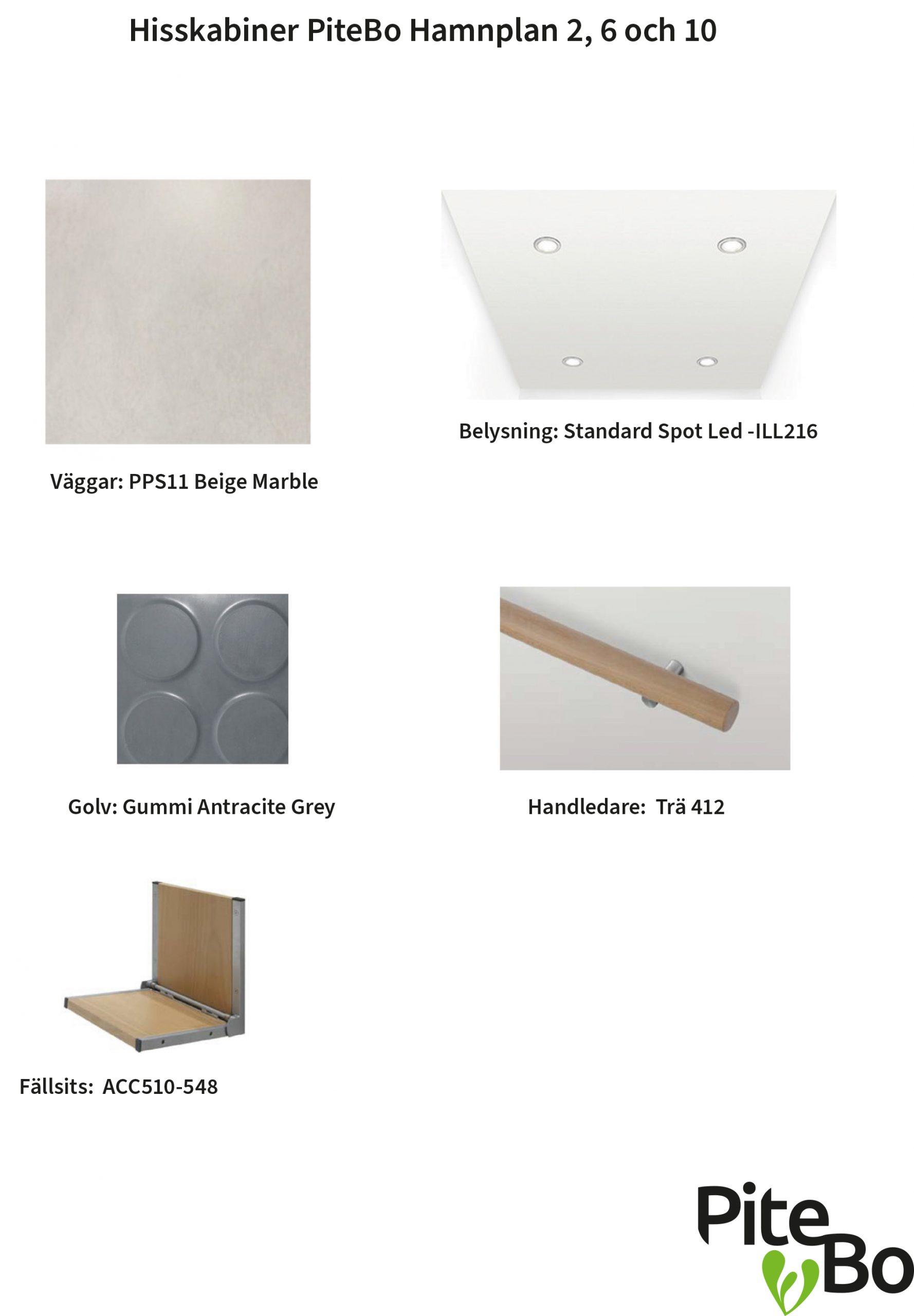 Materialförslag hisskabiner Hamnplan 2, 6 och 10